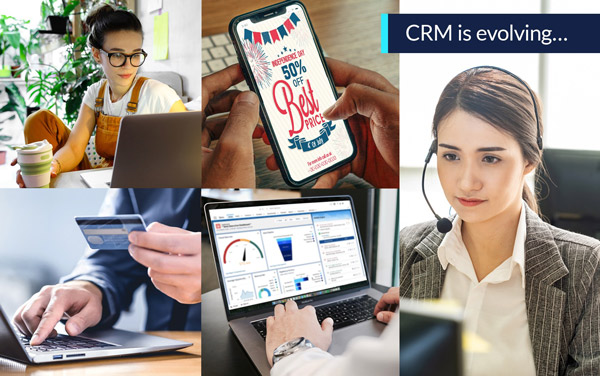 CRM collage: woman at laptop, hand holding credit card, email discount, CRM dashboard