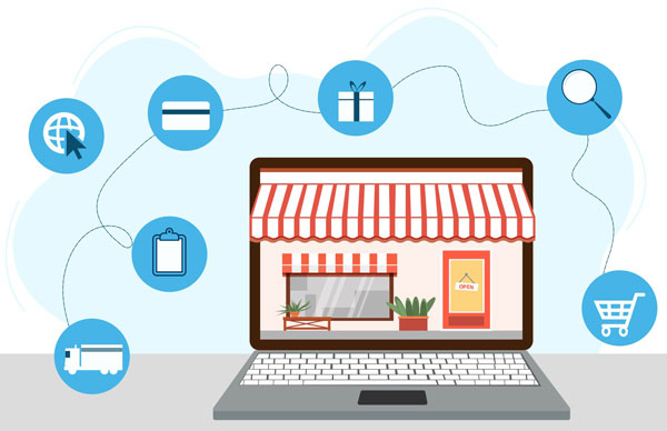 Illustration of e-commerce symbols around a laptop with digital storefront