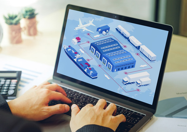 Image of a laptop with supply chain illustration on screen